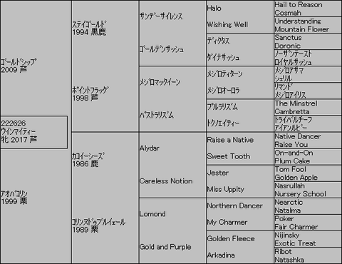 ウインマイティー5代血統表