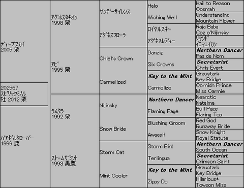 スピリッツミノル5代血統表