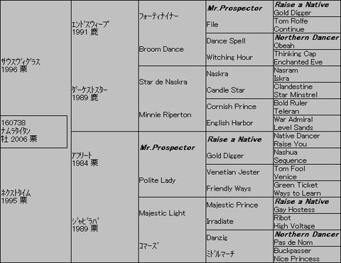 ナムラタイタン5代血統表