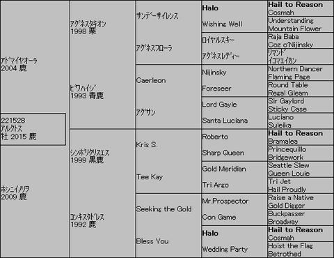 アルクトス5代血統表