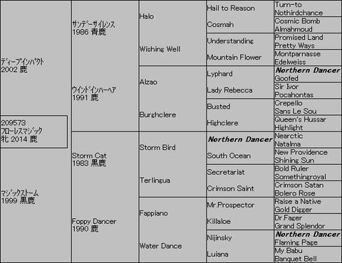 フローレスマジック5代血統表