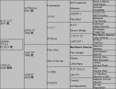 グランレイ5代血統表