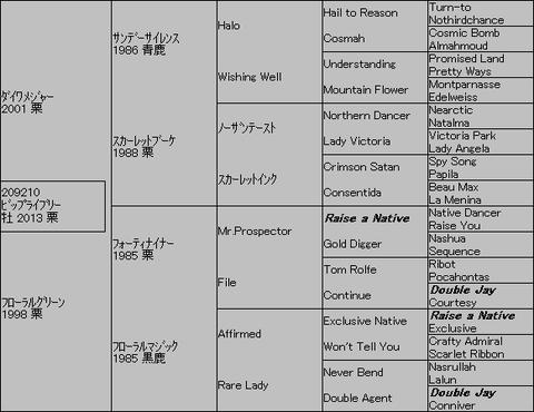 ビップライブリー5代血統表