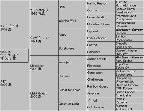 ヴァンドギャルド5代血統表