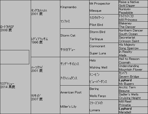 リスグラシュー=ロードカナロア 5代血統表