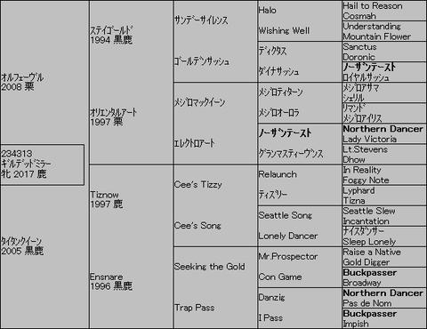 ギルデッドミラー5代血統表
