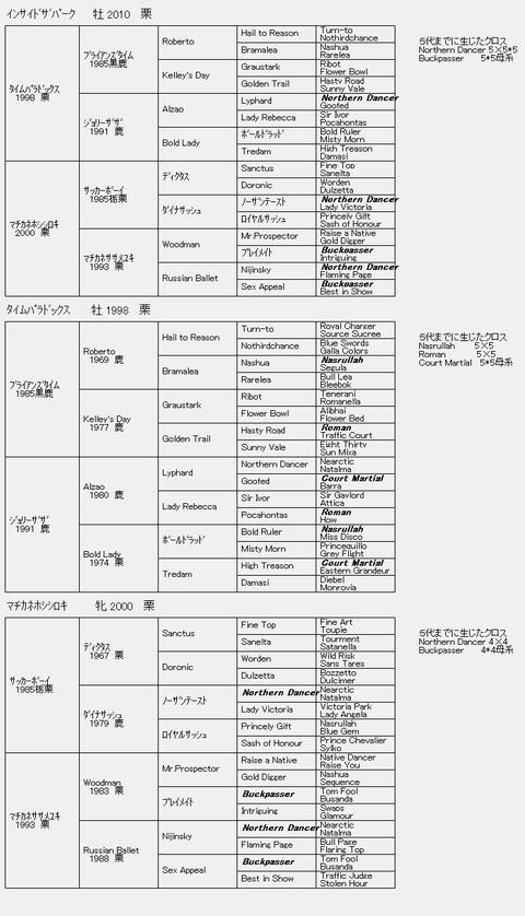 インサイドザパーク6代血統表