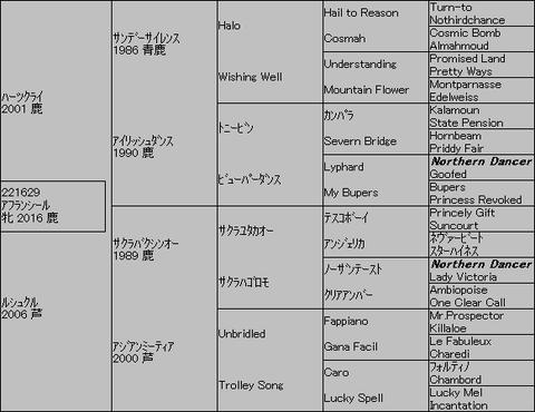 アフランシール5代血統表