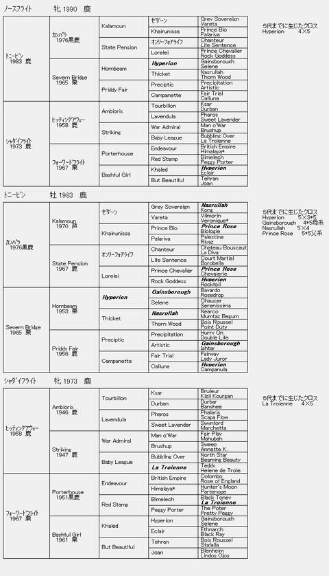 ノースフライト6代血統表