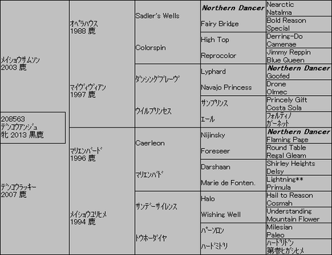 デンコウアンジュ5代血統表