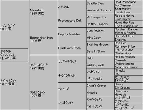 ヴェンジェンス5代血統表