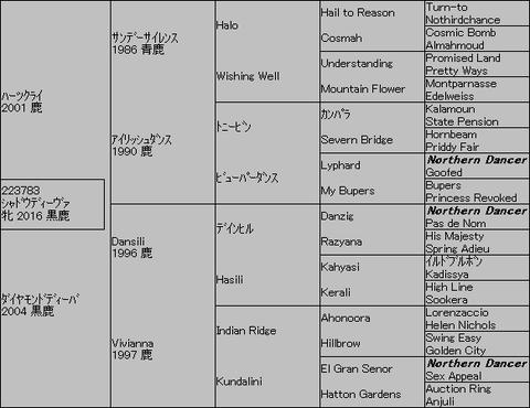 シャドウディーヴァ5代血統表