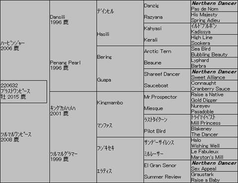 ブラストワンピース5代血統表