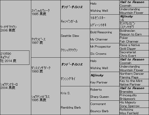 キョウヘイ5代血統表