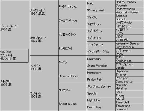 エスティタート5代血統表