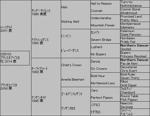 プリンスオブペスカ5代血統表