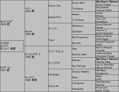ロマネスク5代血統表