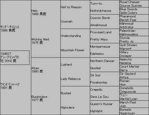 ディープインパクト5代血統表