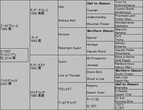 サンライズノヴァ5代血統表