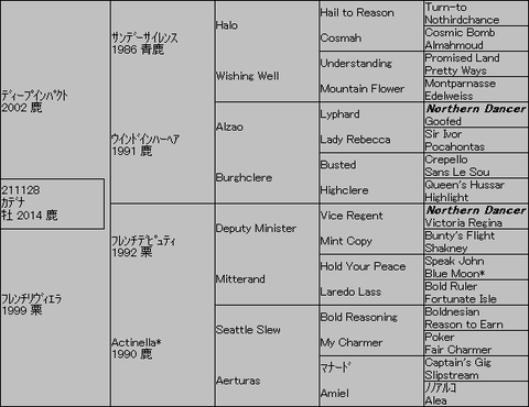カデナ5代血統表