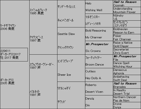 ポーカーアリス20175代血統表