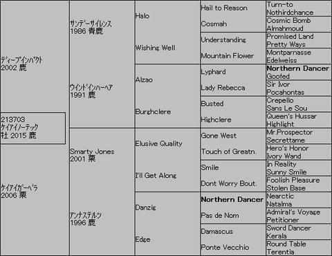 ケイアイノーテック5代血統表