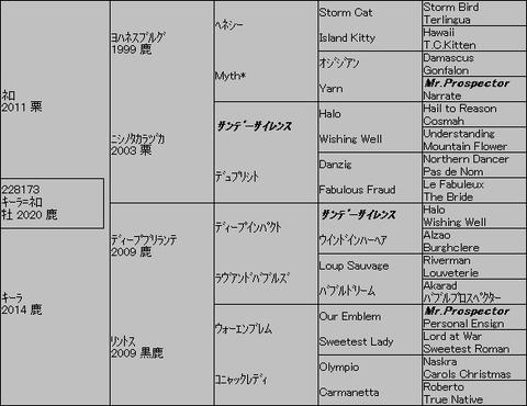 キーラ=ネロ5代血統表