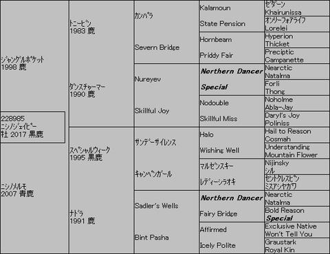 ニシノジェイピー5代血統表