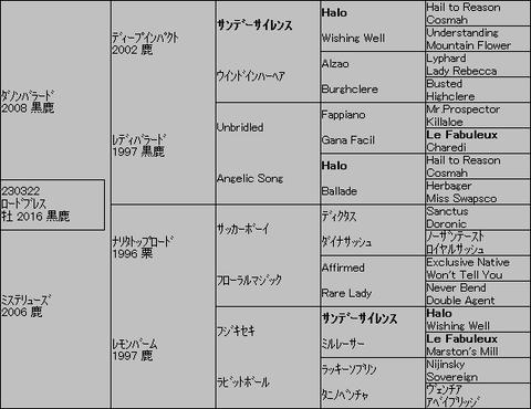 ロードブレス5代血統表