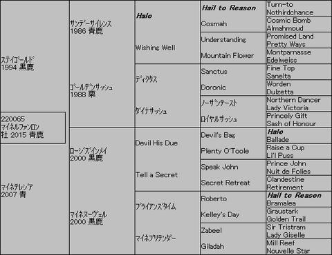 マイネルファンロン5代血統表