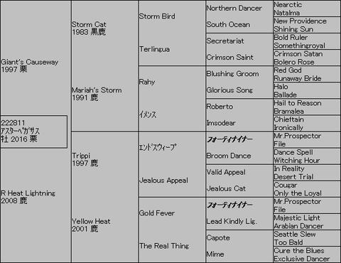 アスターペガサス5代血統表