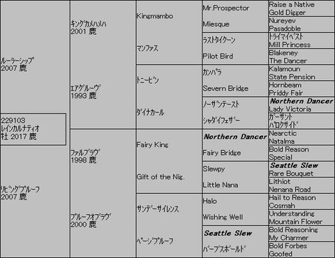 レインカルナティオ5代血統表