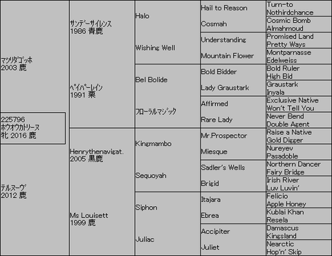 ホウオウカトリーヌ5代血統表
