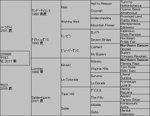 サリオス5代血統表