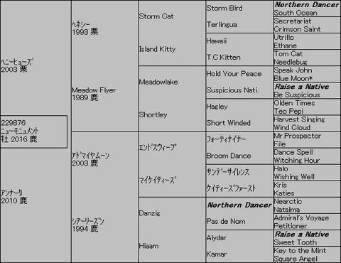 ニューモニュメント5代血統表