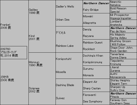 ソウルスターリング5代血統表