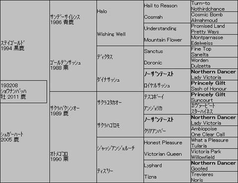 ショウナンバッハ5代血統表