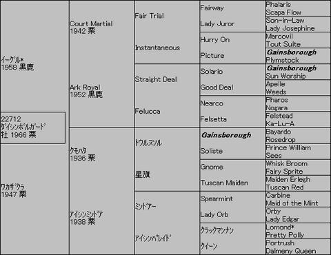 ダイシンボルガード5代血統表