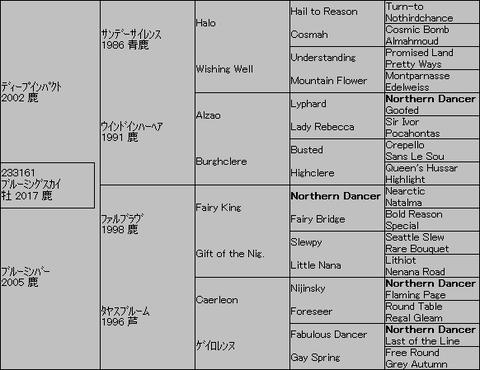 ブルーミングスカイ5代血統表