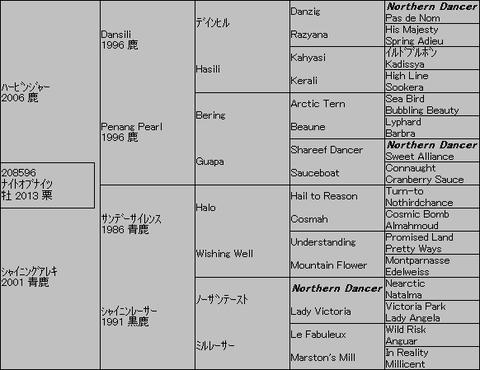 ナイトオブナイツ5代血統表