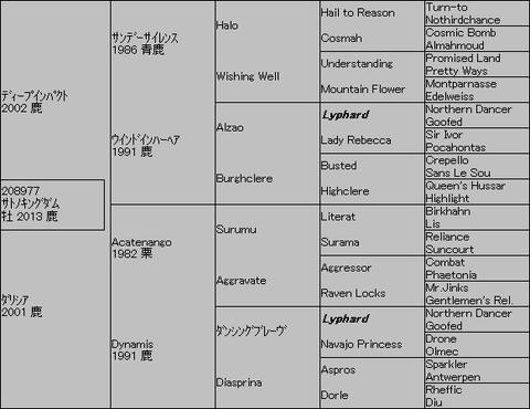 サトノキングダム5代血統表