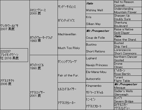 ブレイキングドーン5代血統表