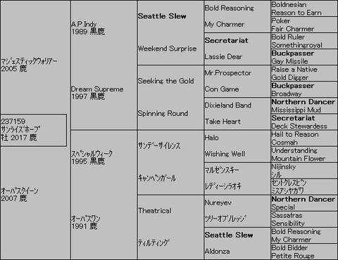 サンライズホープ5代血統表