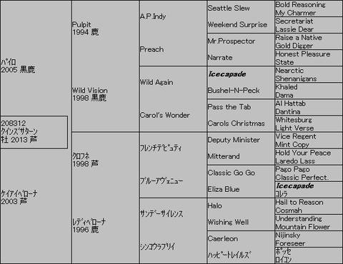 クインズサターン5代血統表