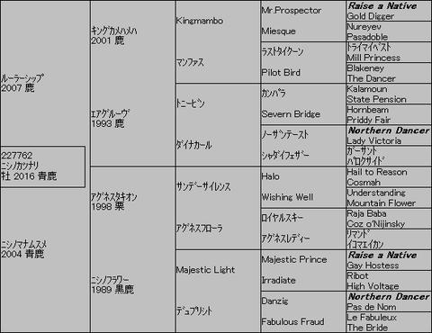 ニシノカツナリ5代血統表