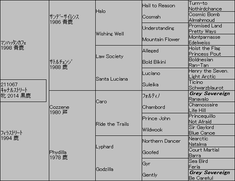キャナルストリート5代血統表