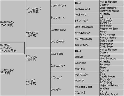 ニシノレガシー5代血統表