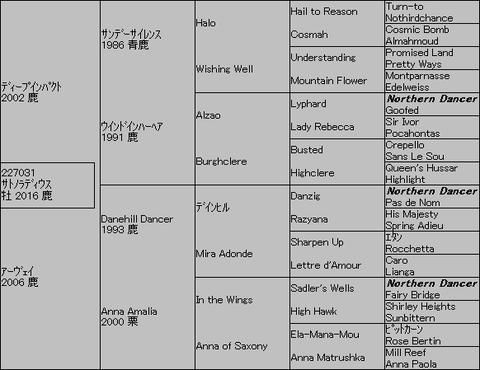 サトノラディウス5代血統表