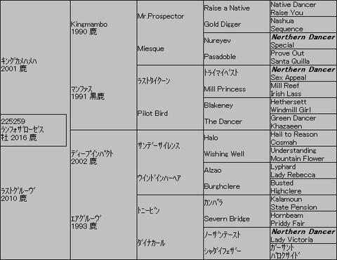 ランフォザローゼス5代血統表