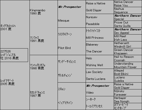 レッドジェニアル5代血統表